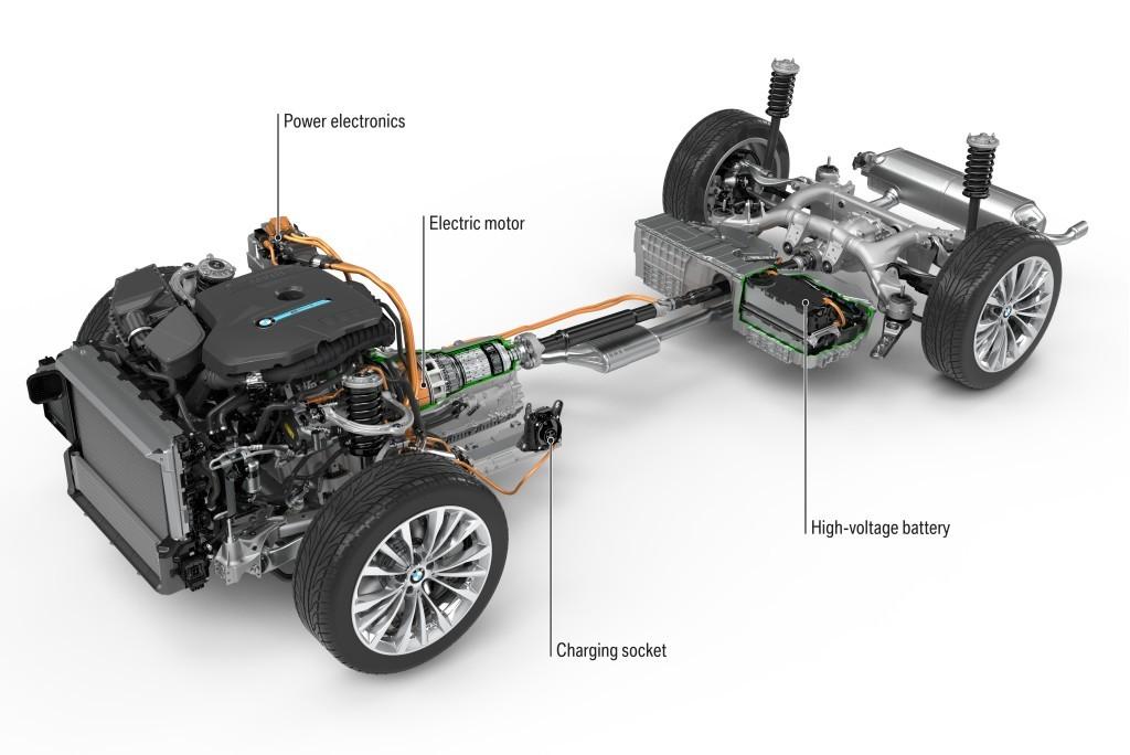 BMW 5シリーズ(G30)のプラグインハイブリッド車、530eのパワートレイン画像
