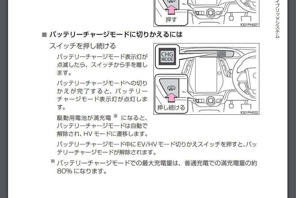 トヨタ プリウスPHVの取扱説明書、バッテリーチャージモード画像